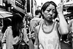 Close Up Portrait (Victor Borst) Tags: street streetphotography streetlife reallife real realpeople asia asian asians faces face candid travel travelling trip traffic traveling urban urbanroots urbanjungle blackandwhite bw mono monotone monochrome fuji fujifilm xpro2 expression girl female woman japan japanese tokyo tokyofishmarket tsukiji