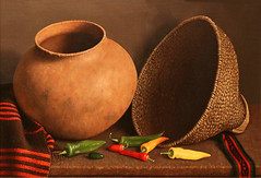 Happy Thanksgiving (studioferullo) Tags: art beauty bright colorful colourful colors colours contrast dark design detail edge light perspective pattern pretty scene serene tranquil study texture tone world tucson arizona stilllife painting acheff basket pottery pepper thanksgiving olla