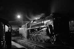 Mighty 9F Locomotive 92214, at end of day disposal at Loughborough, Great Central Railway. The Last Hurrah 18 11 2017 bw (pnb511) Tags: loco locomotive locos locomotives steam smoke power track thelasthurrah endofseasongala night illuminated shed dark 9f 2100 freight heavy 92214 leicestercity