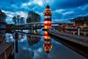 Leuchtturm - Lighthouse - Rheinsberg (K.H.Reichert [ not explored ]) Tags: hafen lighthouse hafendorf fluss brücke rheinsberg wasser blauestunde spiegelung river reflection bootssteeg nightshot leuchtturm bluehour brandenburg deutschland de