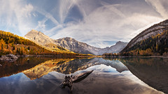 Last Panorama of Fall - Derborence - Switzerland (Rogg4n) Tags: switzerland suisse swiss schweiz valais wallis derborence ramuz mountain alps lake reflection miror dusk morning water wonderland waterscape forest peak snow rock nature landscape spring canoneos80d efs1018mmf4556isstm panorama tree pine sunrise goldenhour quiet conthey autumn fall mirror mountains montagne goldenhours trees