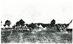 Black and White Photograph of Soldiers and Tents in Military Camp at Fort Lytton, Brisbane (Queensland State Archives) Tags: brisbane fortlytton military encampment queensland historicbuildings lytton soldiers tents camp