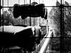 Straight ahead (Lasorigin) Tags: architecture design mulhouse noirblanc pont voiture bâtiment buiding bridge nb blackwhite bw cars plant plante leaves feuilles wood bois glass verre sky tree arbre concret béton metal métal abstrait abstract