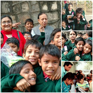 Donor Couple Mr Anil & Ms Suman Govil, who distributes lovely green sweaters to all Flyover kids of Blue Pen, last Sunday, to celebrate birth of two grandsons Avaan and Aarish, born to Ambaree and Anshu