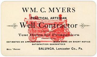 William C. Myers, Practical Artesian Well Contractor, Salunga, Pa.