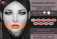 Shimmer Lipstick (@ Tannenbaum) (Izzie Button (Izzie's)) Tags: tannenbaum izzies sl applier makeup shimmer glitter festive winter christmas laq logo omega catwa lelutka
