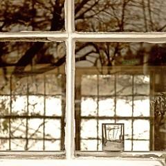 autumn votive (jim_ATL) Tags: autumn window trees reflection votive glass atlanta