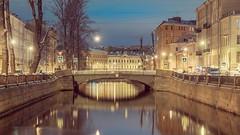 Griboyedov Canal, St. Petersburg (pilot3ddd) Tags: stpetersburg griboeyedovcanal winter bridge reflection olympusomdem5markii olympusmzuiko1240mmf28pro citylights nightcity abigfave