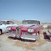 the thrill starts with the grille. mojave desert, ca. 2017. (eyetwist) Tags: eyetwistkevinballuff eyetwist edsel citation sedan 1959 rare griile rusty mamiya 6mf kodak portra 160 mamiya6mf kodakportra160 50mm mamiya50mmf4l ishootfilm analog analogue film emulsion mamiya6 square 6x6 mediumformat 120 filmexif iconla lenstagger epsonv750pro ishootkodak mojave desert california mojavedesert highdesert medium format derelict roadsideamerica americana typology car auto dented rust dust dirt wasteland american west rural red genewinfield rod custom hotrod ford hood headlights classic vintage wheels