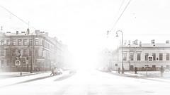 Toward the bright light (Suicidal_zombie) Tags: backlight sunny sun winter snow city cityscape monochome monotone sepia saintpetersburg stpetersburg russia russie russland beautiful