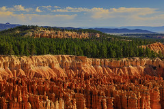 Bryce Canyon : Summer morning . . . (Clement Tang **busy**) Tags: travel nature nationalgeographic concordians closetonature summermorning landscape geologicalfeature hoodoos scenicsnotjustlandscapes sidelit hdr bluesky whiteclouds usa utah sedimentation erosion plfilter inspirationpoint brycecanyon mountain ngc
