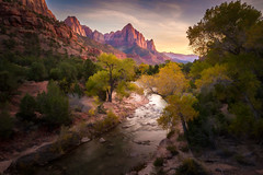 The Watchman - Textured HDR (byron bauer) Tags: byronbauer watchman sunset virgin river valley zion nationalpark water reflection flowing evening landscape mountain clouds sky riverbank trees vista utah canyon topaz simplify painterly texture hdr highdynamicrange 3exp