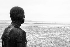 Crosby (marktmcn) Tags: antony gormley sculpture another place crosby beach near liverpool standing cast iron figures looking out sea north west tidal coast blackandwhite monochrome dsc rx100