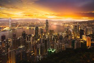 Hong Kong Sunrise, View from The peak, China Hong Kong