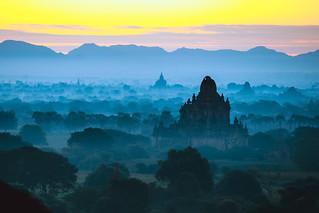 Beautiful scenery during sunrise at the pagoda of Bagan, Myanmar