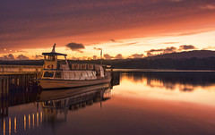 Miss Lakeland sunset (Captain Nikon) Tags: misslakeland pleasureboat lakewindermere windermere cumbria lakedistrict northwest england greatbritain stunning reflections jetty spectacular landscapephotography landscapes lake mountains woods