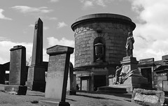 Old Calton burial ground, Edinburgh. (ChrisGibson2016) Tags: graveyard funeral black dark noir blanco remembered forgotten rememberance headstones memories monochrome grey gray life love affection scotland britain uk death white dappled architecture rememberence thoughts hopes family memory
