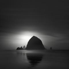 Haystack Rock (nlwirth) Tags: nlwirth yup oregon haystack rock cannonbeach coast sand water sea ocean longexposure blackandwhite monochrome light clouds dark dude woah what huh yep reflection