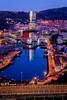 Bilbao de noche (Iñigo Escalante) Tags: sunrise city cityscape lights road traffic bridge pedestrian longexposure streetlight amanecer paisvasco ciudad luces bilbao bluehour overpass euskadi ria pyrmontbridge downtowndistrict citystreet elevatedroad trafico