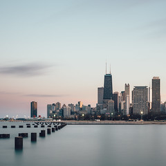 The Windy City (One_Penny) Tags: america canon6d chicago city illinois photography town travel unitedstates urban usa lake water waterfront lakemichigan skyline skyscraper cityscape willistower architecture blur longexposure ndfilter sky twilight sunset sundown evening clouds longshutterspeed square squarecrop squareformat windycity