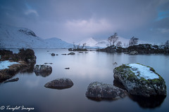 Tranquil Scottish Loch at Sunrise (Twiglet Images) Tags: nikon d600 scotland glencoe loch mountain snow snowy cold weather rock sky cloud sunrise lake water light serene landscape tulla rocky hitech cpl chilly benro tripod manfrotto