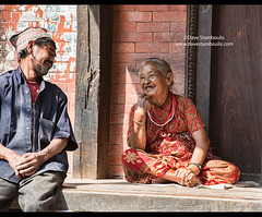 Portrait of joy, old friends laughing, Bhaktapur, Nepal (jitenshaman) Tags: travel destinations worldlocations asia asian nepal nepali kathmandu tradition traditional dashain dasain bhaktapur joy happy happiness joyful funny laugh enjoy friends friend friendship topi oldwoman grandmother grandma sari oldfriends joke joking