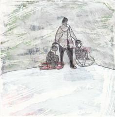 # 225 2017-12-12 (h e r m a n) Tags: herman illustratie tekening 10x10cm tegeltje drawing illustration karton carton cardboard kunst art sneeuw slee slede ijspret winter sleeen snow sled ice fun moederenkind mother motherandchild moeder kinderen kids children sledding sleetjerijden