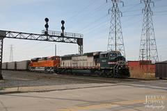 The Vomit Bonnet (jwjordak) Tags: hoppertrain bnsf typeg hightensionlines road unittrain signalbridge 9647 train wickliffe ohio unitedstates us sd70mac