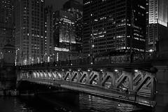 DuSable bridge (rvrossel) Tags: street chicago dusablebridge chicagoisgotham gotham chicagotribune bridge chicagoriver river buildings city nightlights fujixt10 fujixseries blackandwhite bw noiretblanc blancoynegro monochrome people night fujixf23mmf14