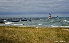 St. Joseph Lighthouses - Explore (mswan777) Tags: 1855mm nikkor d5100 nikon lakemichigan stjoseph michigan coast shore water wave pier seascape dune beach grass fall storm sky cloud wind lighthouse