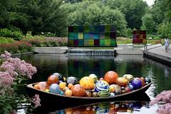 Chihuly Reflections (Explore) (Anne Marie Clarke) Tags: handblownglass dalechihuly newyorkbotanicalgardens water waterfalls modern artwork show smileonsaturday madeofglass saturday landscape 7dwf