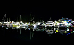 Auckland Harbour (Andy.Gocher) Tags: andygocher canon100d canon1018mm newzealand auckland night harbour waterfront water reflection boats