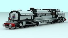 "WHITE LSHG-4, Locomotive, Steam, Heavy, Garrett, 4-8-2+2-8-4, ""White Pearl""GARRETT2 (2) (The Driving Dutchman) Tags: lshg4 locomotive steam heavy garrett 482284 white pearl lego ldd ldd2povray povray trains train railroad car sky snow road"