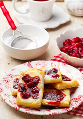Cherry Cream Cheese Danishes. (Zoryanchik) Tags: cheese danish cream baked pastry dessert breakfast treat blue food fresh sweet fruit meal delicious icing tasty morning fast filled cherry