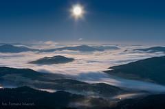 IMGP6391 (TomaszMazon) Tags: mountains beskidy moonlight moonset clouds fog poland