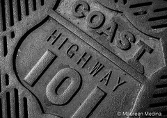 Costal 101 Grate (Maureen Medina) Tags: maureenmedina artizenimages sewer drain grate decorative california ca highway101 coastal bw emblem metal