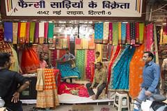 Sari shop. (Tim Brown's Pictures) Tags: india olddelhi delhi travel chandnichowk textiles merchants shops saris colors fabric economy