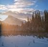 Morning glow and Mt. Rundle (Zeb Andrews) Tags: banff mtrundle canada canadianrockies hasselblad500c kodakportra400 sunrise landscape 6x6 alberta winter roadtrip filmisnotdead butitisfrozen nikoncoolscan9000 scannedatbluemooncamera