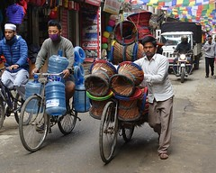 Heavy goods vehicle (posterboy2007) Tags: kathmandu nepal bicycle street transport goods stool water shipping sony