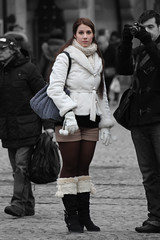 winter (Henk Overbeeke Atelier54) Tags: girl street candid longhair boots winter nylons shorts amsterdam dam