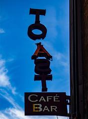 Torn Toast (Steve Taylor (Photography)) Tags: toast cafe bar black blue red sign newzealand nz southisland canterbury christchurch cbd city silhouette cloud sky