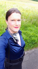Out in the real world (Rikky_Satin) Tags: silk satin blouse leather skirt scarf crossdresser tgirl tgurl outdoor