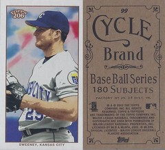 2002 Topps 206 Mini Baseball Card / Series 1 / Cycle - MIKE SWEENEY #99 (First Base) (Kansas City Royals) (Treasures from the Past) Tags: series1 series2 series3 2002 2003 topps 206 topps206 baseball polarbear sweetcaporalred sweetcaporalblack cycle carolinabrights blackpiedmont redpiedmont uzit masterset sweetcaporal sweetcaporalblue blue mini redtolstoi blacktolstoi card minicard baseballcard 2002topps206 t206 mikesweeney kansascityroyals firstbase