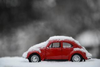 Snow on vw beetle
