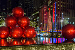 Christmas in New York City (Jill Clardy) Tags: nyc newyorkcity thanksgivingday travel trip vacation rockefeller center decor decorations radio city music hall red ornaments christmas reflections waterfall pond festive 201711224b4a6283 holiday explore explored
