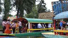 Mariachis preparing to entertain new customers in Xochimilco (nickdippie) Tags: mexico xochimilco ciudaddemexico canal boat canalboat gondolier colourful mariachis