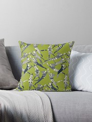 dog party indigo citron throw pillow (Scrummy Things) Tags: dog dogs pets animal pattern illustration illustrative product redbubble sharonturner scrummy pillow cushion citron indigo lime