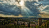 Sunbeams over Boboli gardens (bodro) Tags: boboli florence hdr italy cypress dramaticsky garden puffyclouds rooftops sunbeams travelphotography