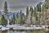 Winter:  Yosemite National Park - Peaceful Valley 02 (Adventure George) Tags: acdseeultimate california hdr highdynamicrangeimage january nationalhistoriclandmark nationalpark nationalregisterofhistoricplaces naturalhabitat nature nikond700 northamerica outdoor photogeorge photoshoot photomatixpro sierranevada sierranevadamountains snow unescoworldheritagesite winter winterscene yosemitenationalpark unitedstatesofamerica us yosemitevalley themeadow mercedriver