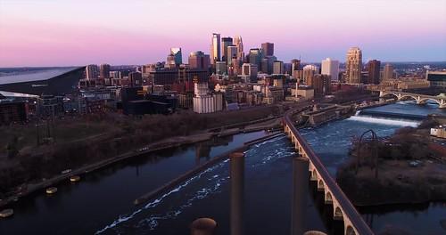 Aerial Sunrise in Minneapolis 4K UHD